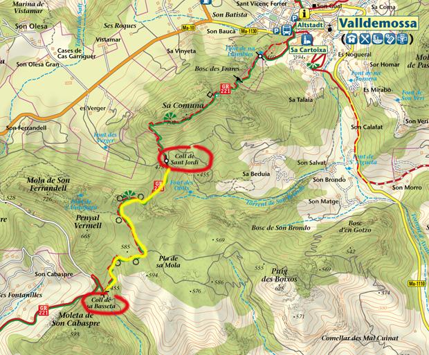 Karte GR-221: Zwischen Esporles und Valldemossa gesperrt