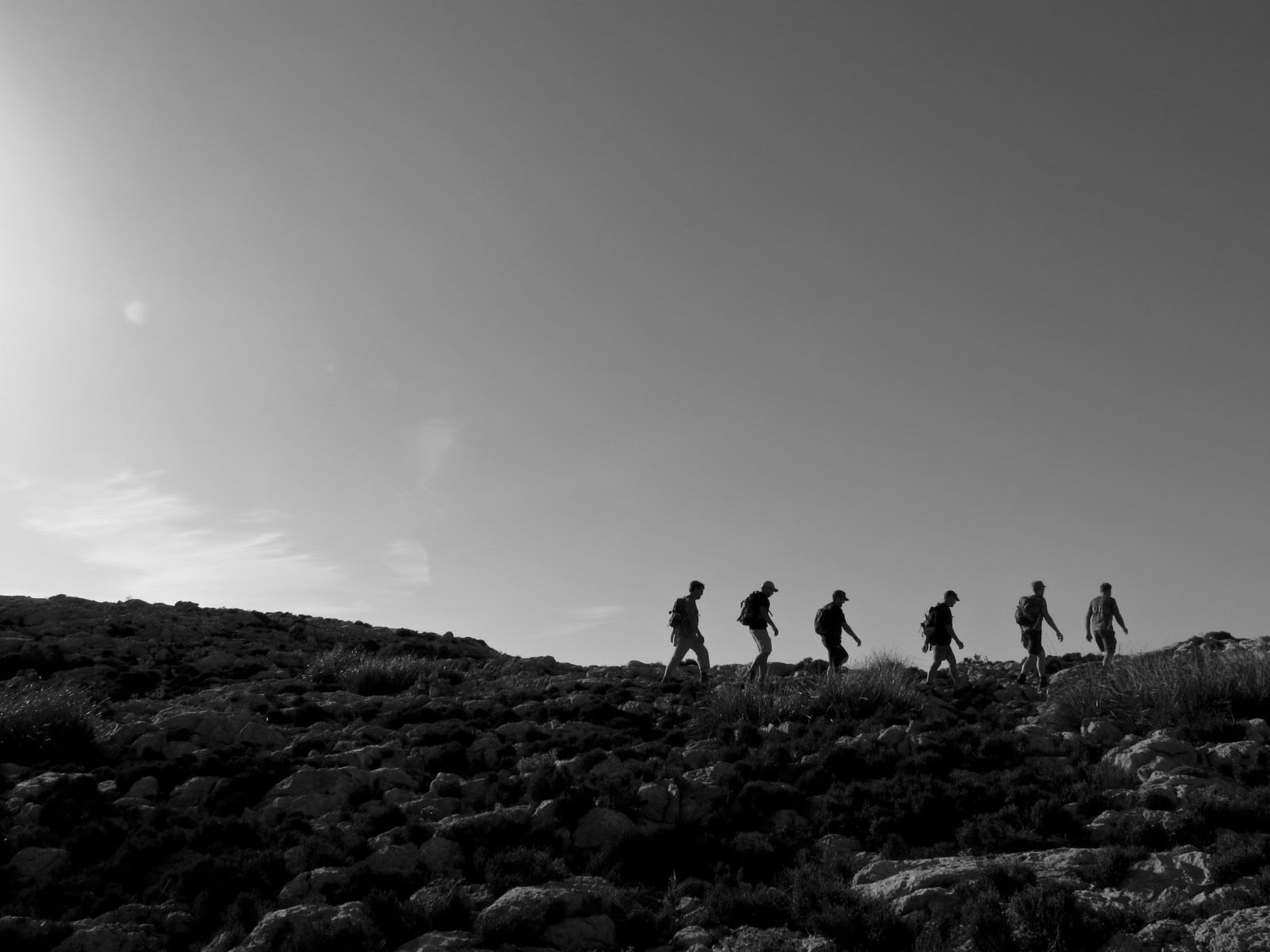 Auf dem Bergrücken kurz vor dem Gipfel des Puig Tomir auf Mallorca